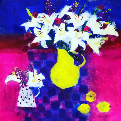 Caroline Bailey Flowers on Blue Check Mixed media  70 x 70 cms £3450