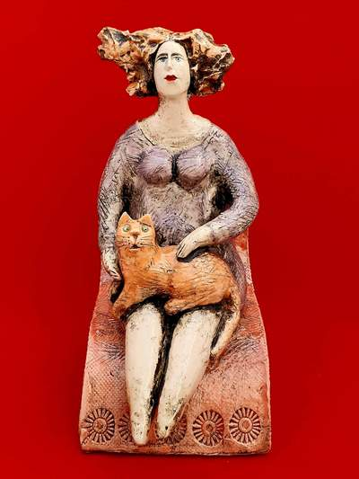 Ludmilla Kosmina  Lady With Cat Porcelain H25 cms £290