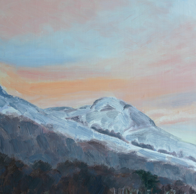 Katherine Cowtan Dunine from Fintry, January sky Oil on board  29 x 29 cms £255 (mounted)