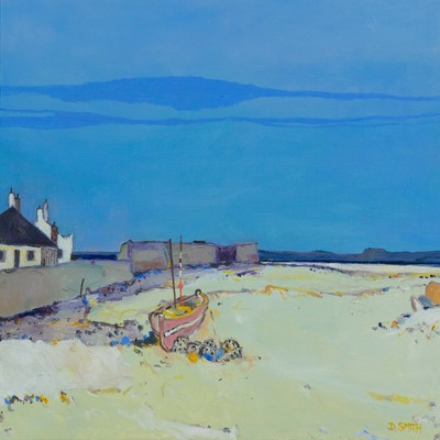 David Smith RSW Western Isles Harbour Oil 26 x 30 ins £2600