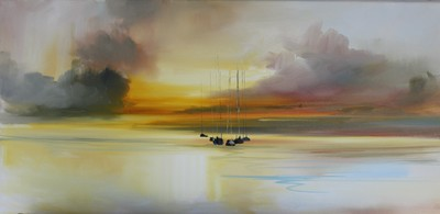 Rosanne Barr Yachts in the Evening Light Oil on canvas  30 x 60 cms £800