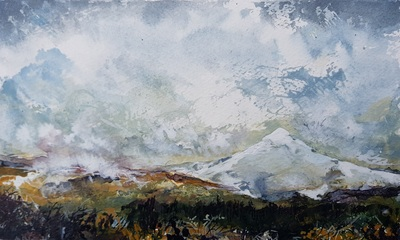 Naomi Rae Autumn Snowfall, Goat Fell, Isle of Arran Indian ink on paper 40 x 50 cms £495