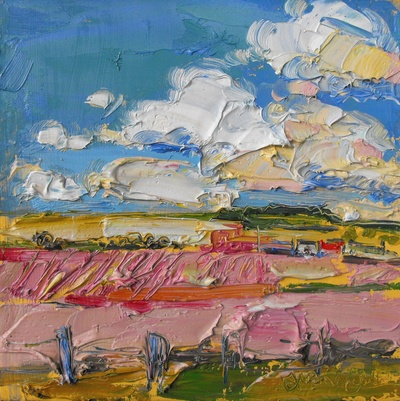 Judith I Bridgland Clouds Over Farm, Aberdeenshire oil on linen 25 x 25 cms SOLD