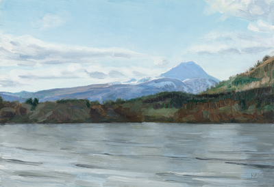 Katherine Cowtan Ben Lomond from Lake Menteith Oil on canvas board  25 x 30 cms   £395