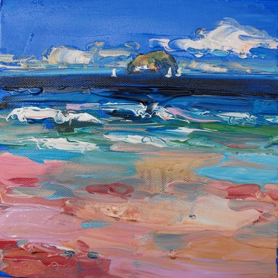Judith I Bridgland Distant Yatchs, Sea Cliff oil on linen 20 x 20 cms £650
