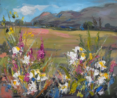 Judith I Bridgland Hedgerow with White Flowers near Strathblane oil on linen 28 x 33 cms SOLD