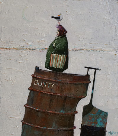 Gordon Wilson Wee Bunty and the Bird 16 x 14 cms  SOLD