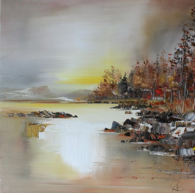 Rosanne Barr Dawn Light on the Loch oil on canvas 50 x 50 cms SOLD