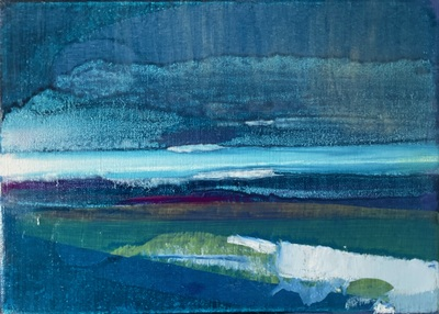 Rowena Comrie Blue Horizon Oil on linen  25 x 35 cms £480 (unframed)