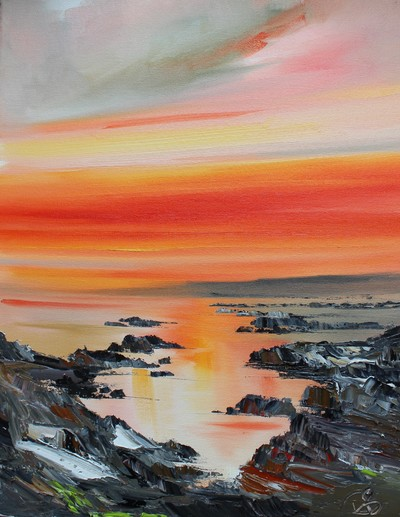 Rosanne Barr On the Rocks at Sunset oil on canvas 40 x 30 cms £600