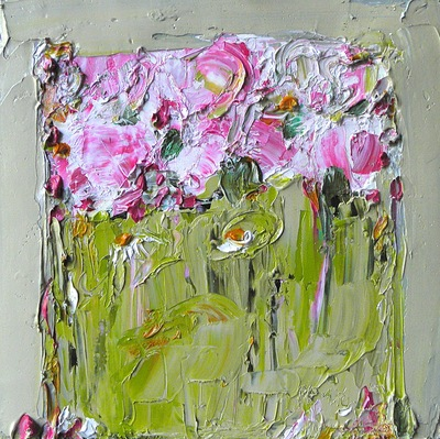 Wild Flowers, Peonies and Daisies 40 x 40 cms oil on canvas SOLD