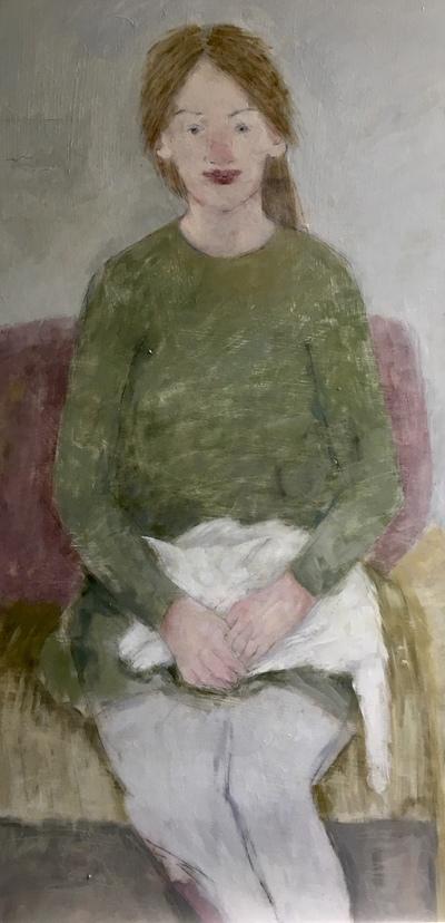 Joyce Gunn Cairns Woman with White Cat Oil on board  113 x 60 cms £1150