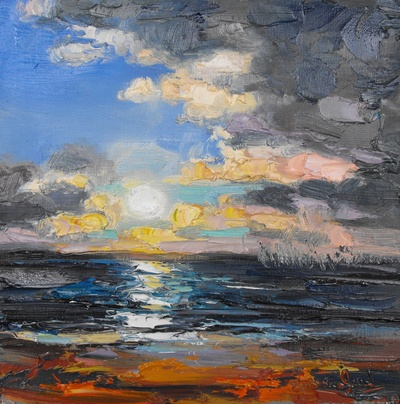 Judith I Bridgland Distant Rain at Sunset oil on linen 30 x 30 cms £1350