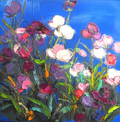 Judith I Bridgland Summer Sweet Peas oil on linen 40 x 40 cms £1750