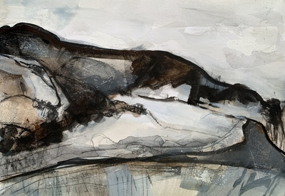 Ann Cowan Holyrood Park in Winter Mixed media  21 x 30 cms £325 SOLD