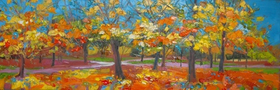 Judith I Bridgland Autumn Paths  oil on linen 40 x 122 cms £3750