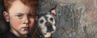 Susan Hutchison Wee Man and His Dug Oil on canvas  20 x 50 cms £1650