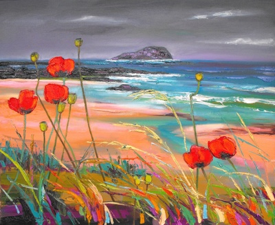 Judith I Bridgland Windblown Poppies, North Berwick oil on linen 66 x 81 cms £3750