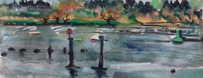 Rowena Comrie River Bank at Bowling Watercolour  41 x 70 cms £475