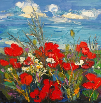 Judith I Bridgland Poppies and Daisies by the Sea oil on linen 40 x 40 cms £1750