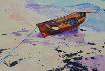 Marion Thomson The Boat on the Beach, Iona Watercolour  18 x 25 cms £300