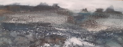 Karen MacWhinnie Landscape 4 Acrylic on canvas 20 x 50 cms £325