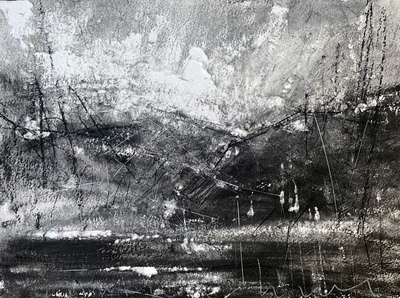 Andy Heald I Came a looking for Mountains (But Only Found Hills) Charcoal 20 x 50 cms £400