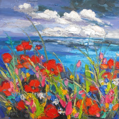 Judith I Bridgland Poppies with Overcast Sky oil on linen 40 x 40 cms SOLD