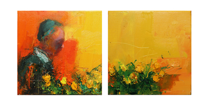 Henry Jabbour My Heart Broke Loose III (Diptych) Oil on linen 30 x 60 cms £1200 SOLD