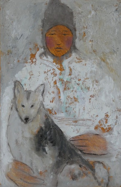 Helen Tabor  Girl with a Dog Oil on board  29 x 19 cms £450