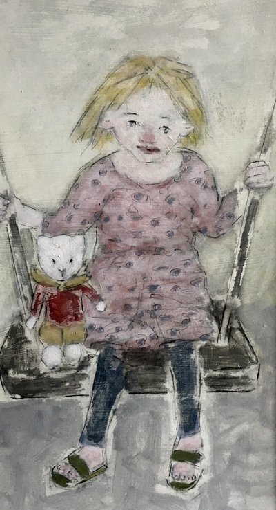 Joyce Gunn Cairns Child on a Swing with Rupert Oil on board  54 x 33 cms £650 SOLD