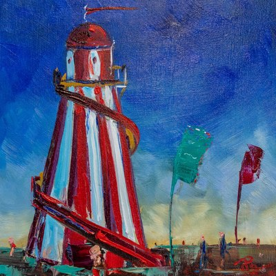 Paul Graham  Helter Skelter with Flags Oil on board  20 x 20 cms £450