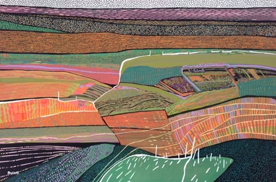 Carol Dewart PAI RSW The Fabric of the Land gouache 54 x 80 cms £2800