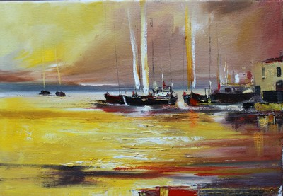 Rosanne Barr Night Sailing oil on canvas 25 x 35 cms SOLD