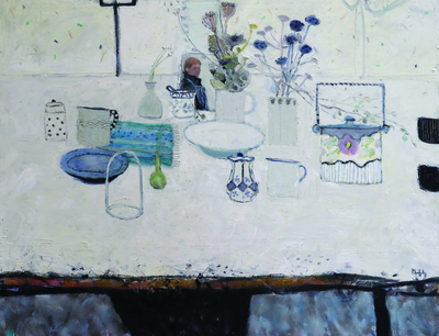 Sandy Murphy RSW RGI PAI Table Still Life oil on board 28 x 35 ins SOLD