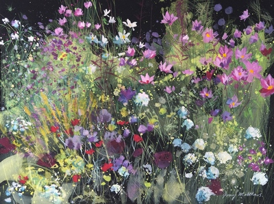 Jenny Matthews Border with Cosmos Watercolour  30 x 40 cms £500 (unframed)