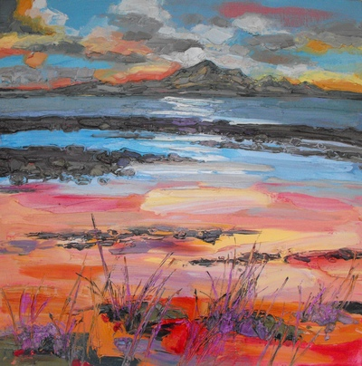 Judith I Bridgland Sunset at Seamill oil on linen 81 x 81 cms £3950
