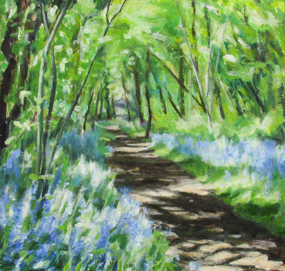 'Katherine Cowtan Inchmahome Bluebells II   Oil on board  30 x 30 cms  £395
