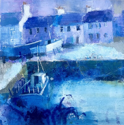 Nicole Stevenson  Blue Harbour, Dunbar Oil on cradled paper 20 x 20 cms £350 (box framed)