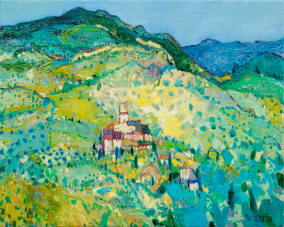 David Smith RSW Summer, Pyrenees Oil 16 x 20 ins SOLD